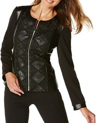Rafaella Petite Lace Overlay Leather Jacket Black