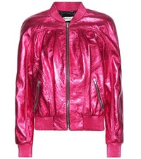 Saint Laurent Metallic Leather Bomber Jacket Pink