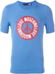 Love Moschino Peace And Logo Print T Shirt Blue