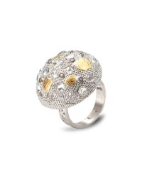 Coomi Opera Silver Crystal And Diamond Dome Ring