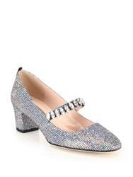 Sarah Jessica Parker Dazzle Crystal And Sequin Mary Jane Pumps Silver