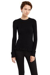 Ms Min Ruffle Hem Long Sleeve Top Black