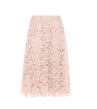 Valentino Lace Cotton Blend Skirt Pink