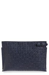 Loewe Large Logo Embossed Calfskin Leather Pouch Blue Navy Blue