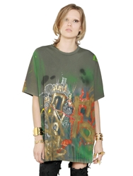Faith Connexion Oversized Graffiti On Cotton T Shirt Military Green
