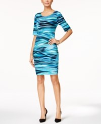 Connected Petite Tiered Jersey Sheath Dress Turq Aqua