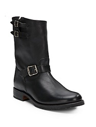 Frye Rand Engineer Leather Moto Boots Black