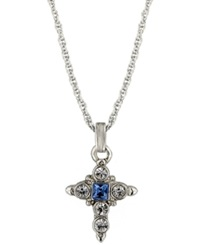 Vatican Necklace Silver Tone Crystal Cross Pendant