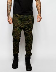 Asos Drop Crotch Joggers In Camo Twill Overdye Green