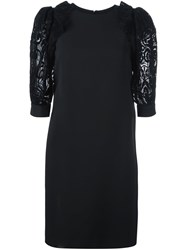 Ungaro Emanuel Lacy Puff Sleeve Dress Black