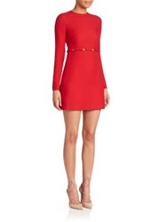 Valentino Bow Detail Long Seeve Wool And Silk Dress Red