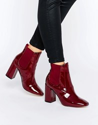 New Look Chelsea High Patent Boots Red