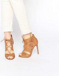 New Look Tie Up Heeled Sandal With Lazer Cut Detail Tan