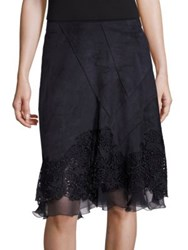 Elie Tahari Lila Lace Applique Skirt Black