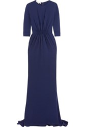 Stella Mccartney Gathered Stretch Cady Gown Navy