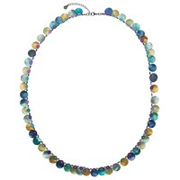 One Button Long Mother Of Pearl Disc Necklace Teal Multi Teal Multi
