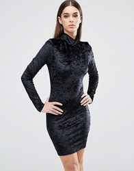 Club L High Neck Long Sleeve Dress In Crushed Velvet Crushed Velvet Black