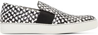 Lanvin Black And White Woven Slip On Sneakers