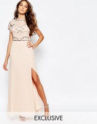 Frock And Frill Embellished Sweetheart Maxi Dress With Thigh Split Blush Pink
