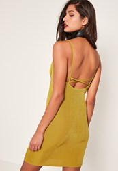 Missguided Chartreuse Green Cross Back Cowl Neck Slinky Dress Olive