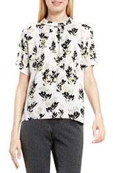 Vince Camuto Women's Shirred Mock Neck Blouse Shadow Green Leaf Trio