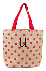 Cathy's Concepts Personalized Polka Dot Jute Tote Red Red U