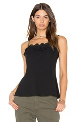 Greylin Alina Scallop Lace Trimmed Top Black