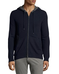 Vince Cashmere Hooded Zip Front Sweatshirt Coastal Blue