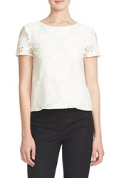 Women's Cece By Cynthia Steffe Floral Lace Short Sleeve Blouse New Ivory