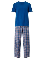 John Lewis Check Trousers And T Shirt Lounge Set Blue Red
