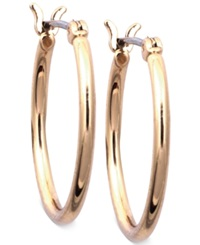 Nine West Earrings Gold Tone Small Tube Hoop Earrings