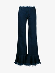 Marques Almeida Frayed Flared Denim Jeans Blue Denim