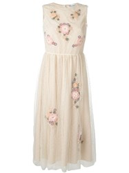 Red Valentino Tulle Flowers Application Dress Nude And Neutrals