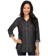 Kut From The Kloth Alexa High Low Long Sleeve Button Down Black Women's Long Sleeve Button Up