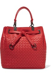 Bottega Veneta Messenger Small Intrecciato Leather Tote Red