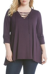 Karen Kane Plus Size Women's Ruched Sleeve Lace Up Jersey Top