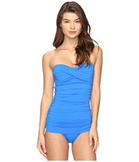 Tommy Bahama Pearl Twist Front Bandeau One Piece Swimsuit Vivid Blue Women's Swimsuits One Piece