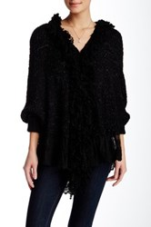 Lulu Lace Trim Cardigan Black