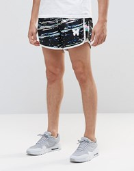 Good For Nothing Retro Shorts With All Over Paint Splatter Print Black