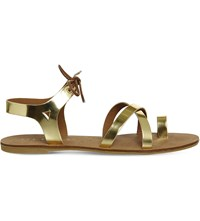 Office Bonita Strappy Sandals Gold Leather