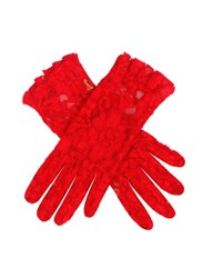 Dents Ladies Short Lace Glove With Ruffle Cuff Berry