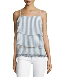 Greylin Tiered Fringe Hem Striped Tank Navy White
