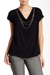 Laundry By Shelli Segal Draped Chain Accent Blouse Black