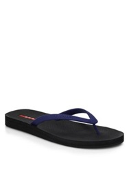 Prada Rubber Flip Flops Blue Black