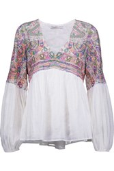 Chelsea Flower Rowan Embroidered Cotton Gauze Top White