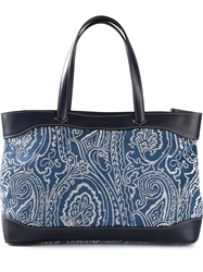 Etro Paisley Print Canvas Tote Blue