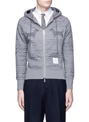 Thom Browne Hector Smocking Embroidered Zip Hoodie Grey