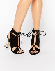 Truffle Collection Cut Out Lace Up Sandal With Clear Heel Black Mf