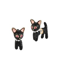 Betsey Johnson Cat Front Back Stud Earrings Black