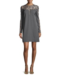 Lela Rose Long Sleeve Feather Medallion Shift Dress Charcoal